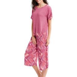 Womens Pattern Mixing Pajama Capris Set