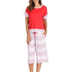 Ink + Ivy Womens Tiny Heart Print Pajama Capris Set