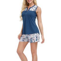 Womens Printed Contrast Yoke Pajama Shorts Set