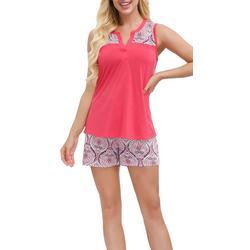 Womens Paisley Contrast Yoke Pajama Shorts Set