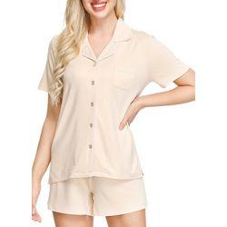 Ink + Ivy Womens Notch Collar Pajama Shorts Set