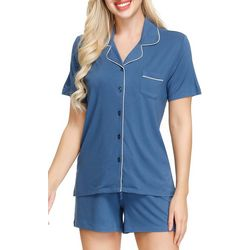 Ink + Ivy Womens Notch Collar Pajama Shorts Set