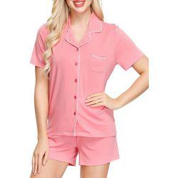 Womens Notch Collar Pajama Shorts Set