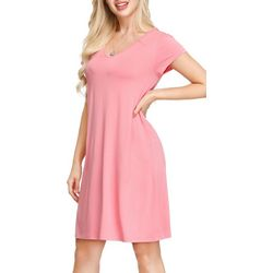 Ink + Ivy Womens Solid Pocketed Short Nightgown