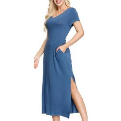 Womens Solid Pocketed Maxi Nightgown