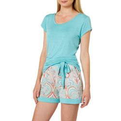 Echo Womens Paisley Print Pajama Shorts Set