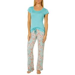 Echo Womens Scrolling Paisley Print Pajama Pants Set