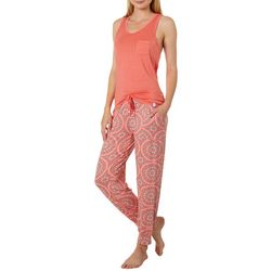 Echo Womens Turtle Palm Print Jogger Pajama Pants Set