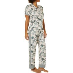 Echo Womens Jungle Print Button Down Pajama Pants Set