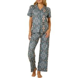 Ink + Ivy Womens Notched Collar Medallion Pajama