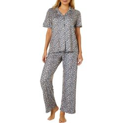 Echo Womens  Floral  Print Button Down Pajama Pants Set