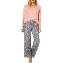 Ink + Ivy Womens Floral Henley Pajama Pants Set
