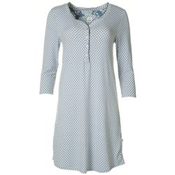 Echo Womens Printed Crochet Trimmed Nightgown