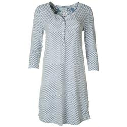 Womens Printed Crochet Trimmed Nightgown