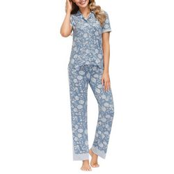 Echo Womens Floral Contrast Trim Button Down Pajama Set