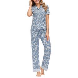 Womens Floral Contrast Trim Button Down Pajama Set