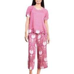 Ink + Ivy Womens Paisley & Diamond Pajama Capris Set