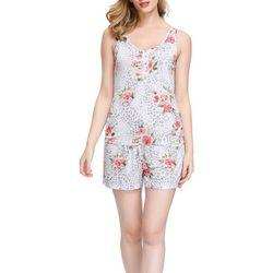 Ink + Ivy Womens Floral Henley Pajama Shorts Set
