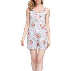 Womens Floral Henley Pajama Shorts Set