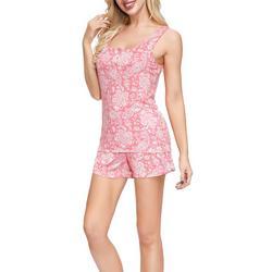 Womens Paisley Henley Pajama Shorts Set