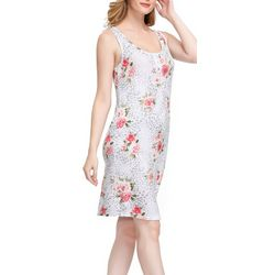 Ink + Ivy Womens Floral Leopard Henley Sleeveless Nightgown