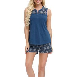 Ink + Ivy Womens Medallion Contrast Yoke Pajama