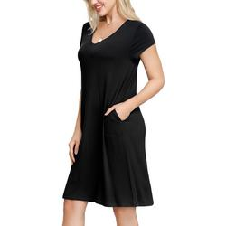 Womens Solid Pocketed Short Nightgown