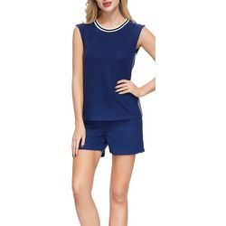 Ink + Ivy Womens Solid Stripe Trim Pajama Shorts Set