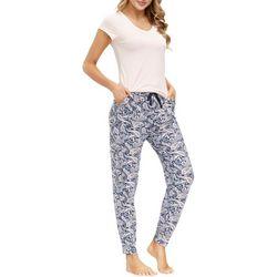 Ink + Ivy Womens Paisley Print Jogger Pajama Set