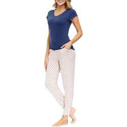 Ink + Ivy Womens Diamond Print Jogger Pajama Set