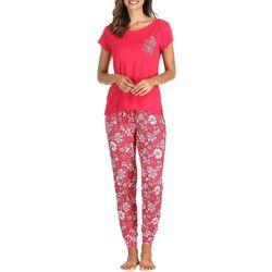 Ink + Ivy Womens Floral Print Jogger Pajama Pants Set