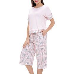 Ink + Ivy Womens Bohemian Tile Pajama Capris Set