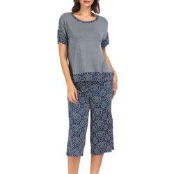 Ink + Ivy Womens Damask Short Sleeve Pajama Capris Set