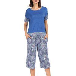 Ink + Ivy Womens Paisley Diamond Pajama Capris Set