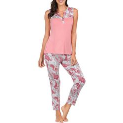 Ink + Ivy Womens Floral Paisley Split Neck Pajama Pants Set