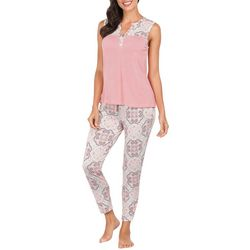 Ink + Ivy Womens Medallion Split Neck Pajama