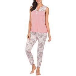 Ink + Ivy Womens Medallion Split Neck Pajama Pants Set
