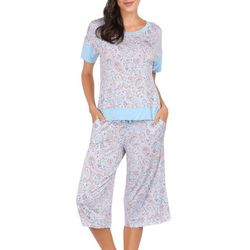 Ink + Ivy Womens Floral Paisley Oversized Pajama Capris Set