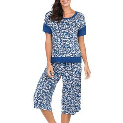 Ink + Ivy Womens Birdie Print Oversized Pajama Capris Set