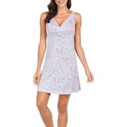 Ink + Ivy Womens Paisley Empress Knotted V-Neck Nightgown