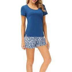Echo Womens 2-Pc. Solid Tee & Floral Print Shorts PJ Set