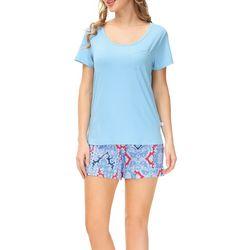 Echo Womens 2-Pc. Solid Tee & Print Shorts PJ Set