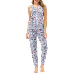 Ink + Ivy Womens Paisley Patchwork Jogger Pajama Set