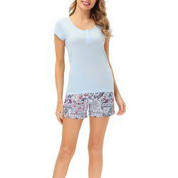 Echo Womens 2-Pc. Paisley Pajama Shorts & Henley Top Set