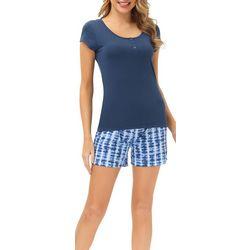 Echo Womens 2-Pc. Tie Dye Pajama Shorts & Henley Top Set