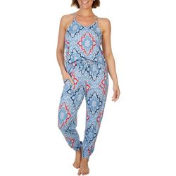 Echo Womens Micro Print Jogger Pajama Jumpsuit