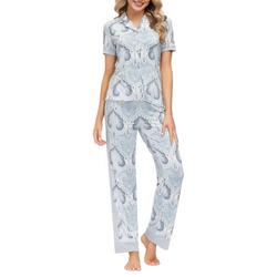 Womens Paisley Contrast Trim Button Down Pajama Set