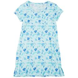Womens Tropical Leaves Print T-Shirt Nightgown