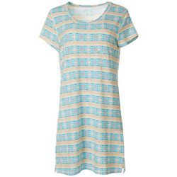 Womens Geometric Stripe Print T-Shirt Nightgown