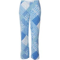 Womens Patchwork Print Pajama Pants